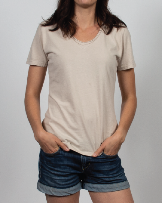 Essential V-Neck Tee in Beige