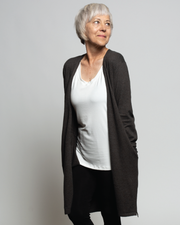 THE CORE LONG CARDIGAN IN EARTH