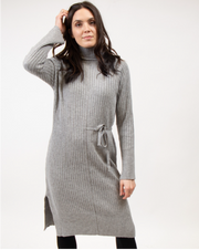 Ribbed Sweater-Dress In Grey