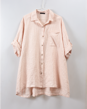 Stripe Button Detail Linen Blouse in Pink/White