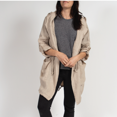 Stone Drawstring Hooded Jacket in Italian Linen