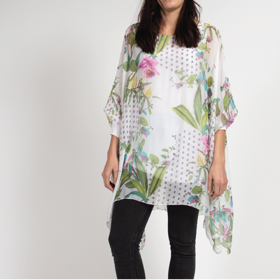 White Floral Detail Poncho Blouse in Italian Silk