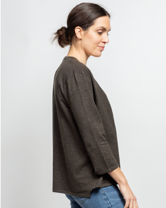 THE CORE CROPPED CARDIGAN IN EARTH