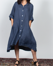 Blue Shirt Dress Dress in Italian Linen