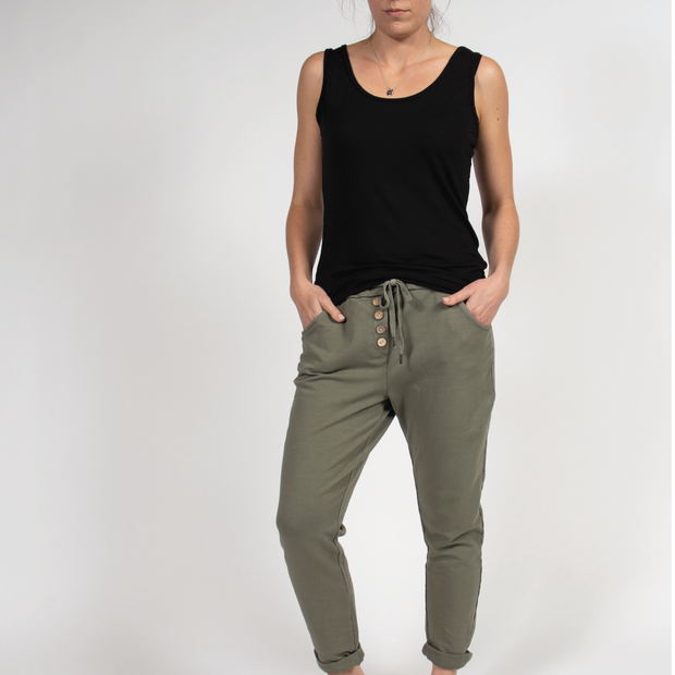 Drawstring Button Pants in Italian Terry