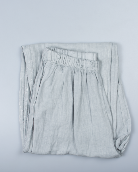 Side Detail Design Pants in Italian Linen