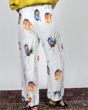 Flower Print Pants in Italian Linen
