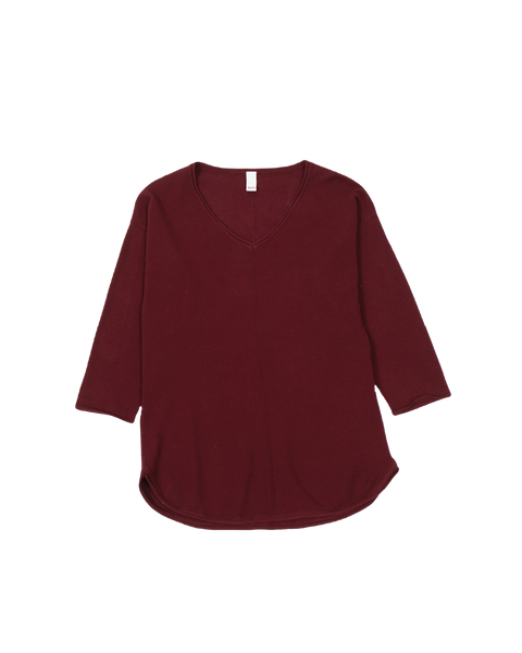THE CORE KNITTED VNECK IN MERLOT