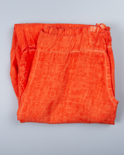 Orange Paisley Eyelet Pant in Italian Linen