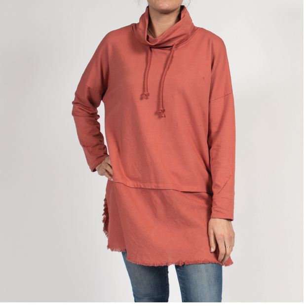 Faux Layer Tunic with Italian Linen