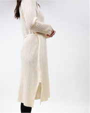 Ribbed Sweater-Dress In Cream