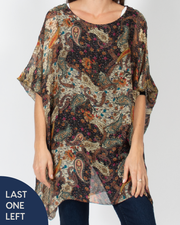 Silk Paisley Tunic Top