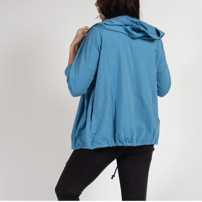 Sea Blue Hoodie in Italian Cotton Terry