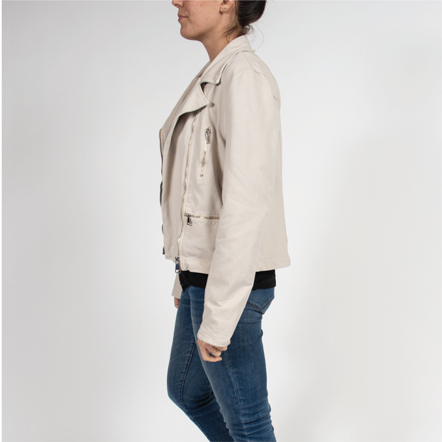 Motto Cream Cropped Jacket in Italian Jersey