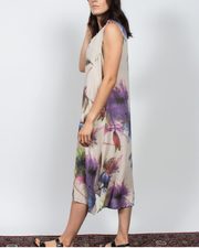 Abstract Floral Dress in Italian Linen