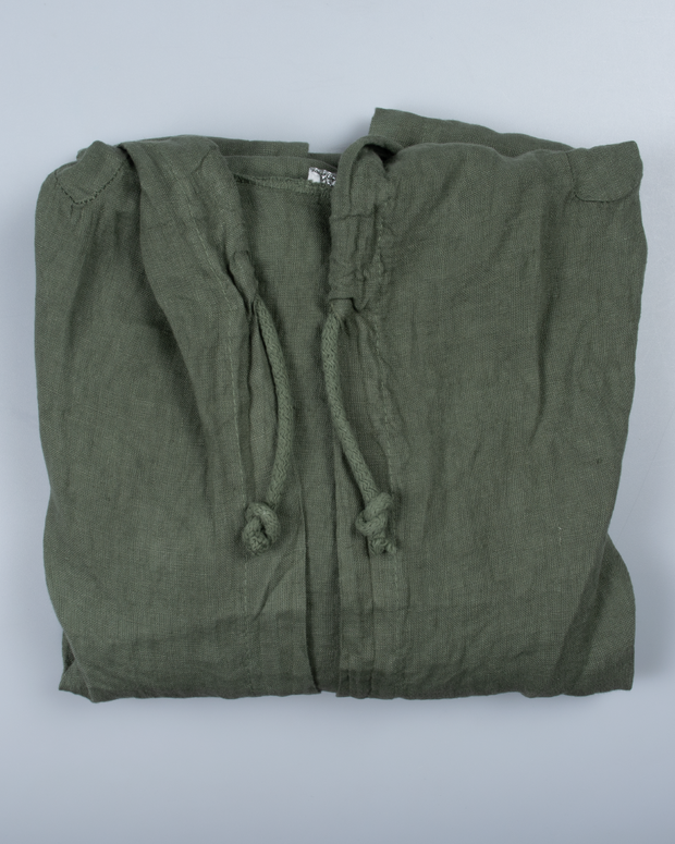 Drawstring Hooded Top in Italian Linen