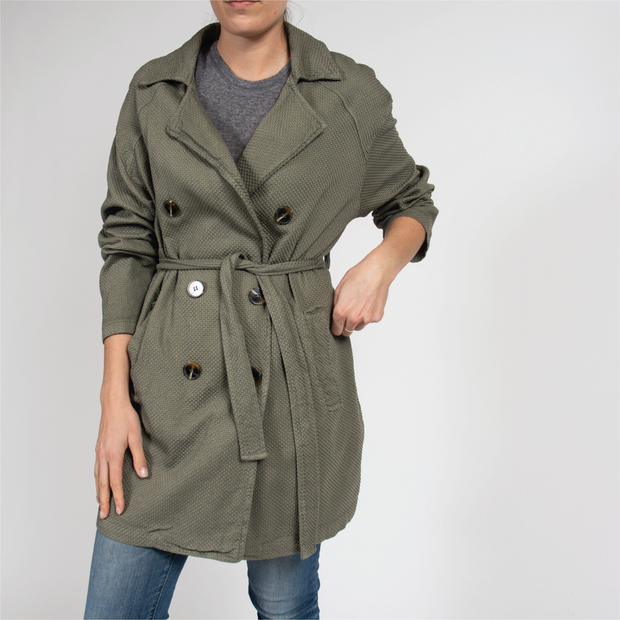 Honeycomb Trench Coat in Italian Cotton
