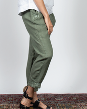 Embroidered Detail Pants in Italian Linen