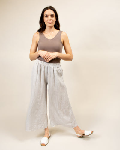 Wide Leg Linen Pants in Light Grey