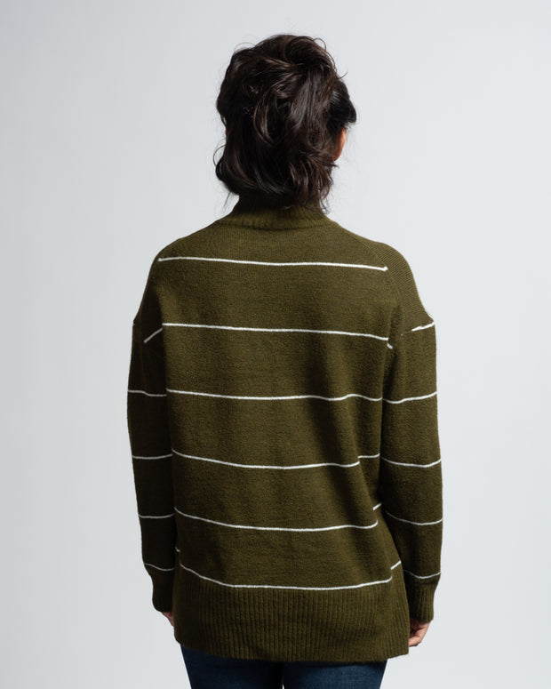 Mock Neck Striped Sweater - Green