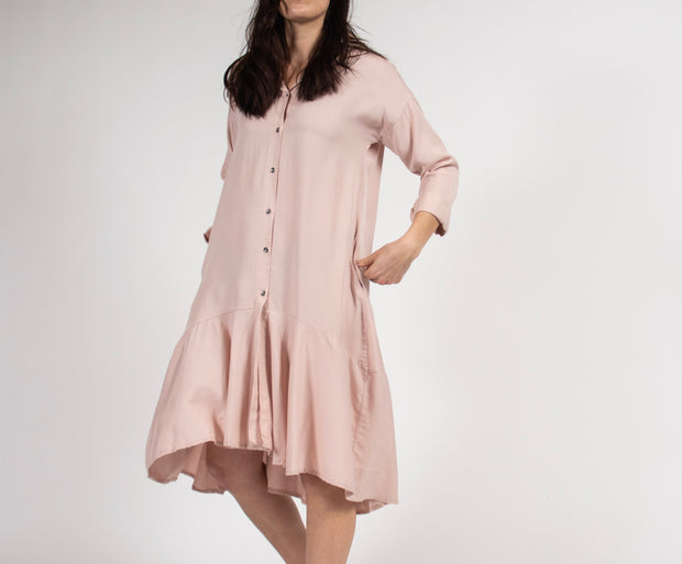 Pink Shirt Dress with Lowered Waist