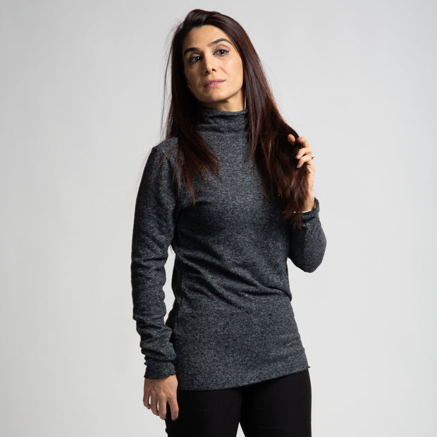 Long Sleeve Mock Neck - Dark Grey