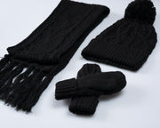 Cable Knit Winter Essentials Set - Black