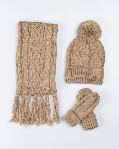 Cable Knit Winter Essentials Set - Beige