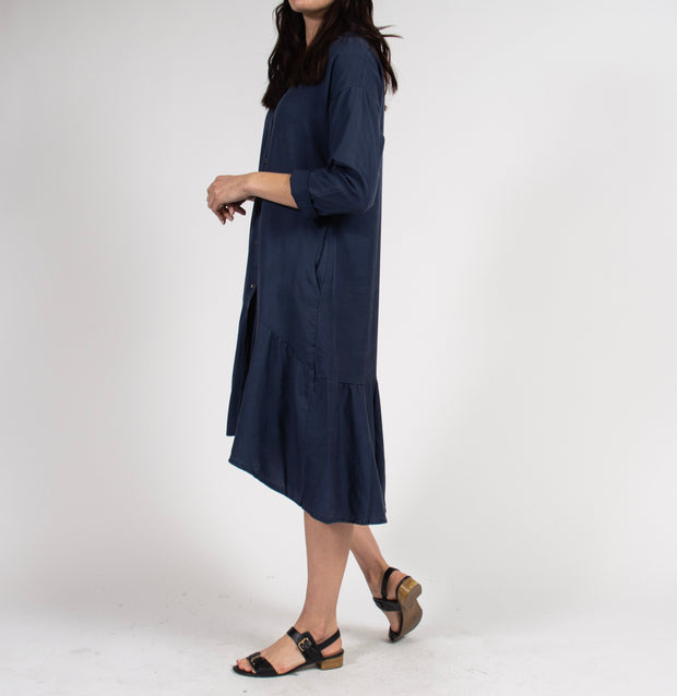 Blue Shirt Dress with Lowered Waist