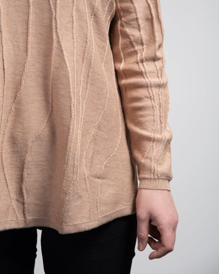 Embroidered Vine Detail Sweater - Taupe