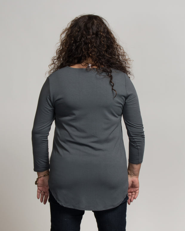V-Neck Stretch Top - Grey