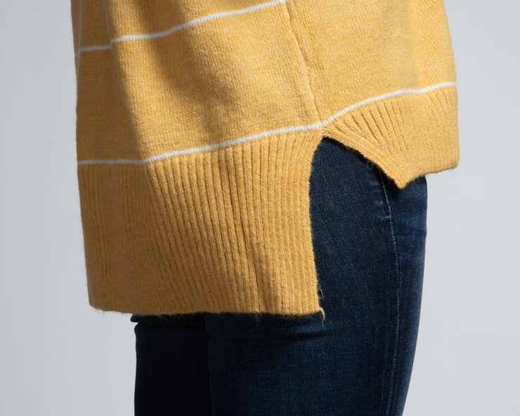 Mock Neck Striped Sweater - Yellow