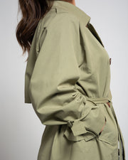 Cotton Blend Trench Coat - Green
