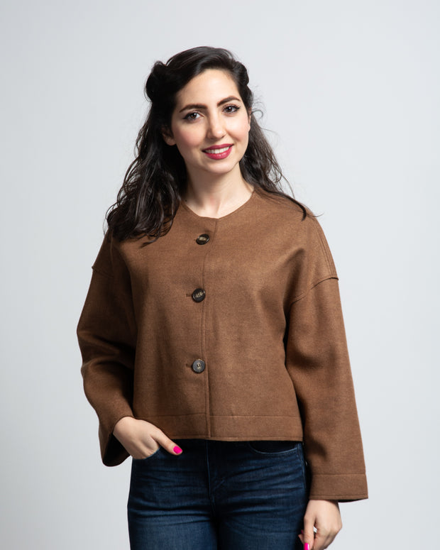 Collarless Felted Jacket
