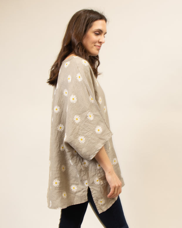 Italian Linen Daisy Pocket Top