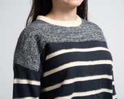Two-Tone Striped Sweater - Navy