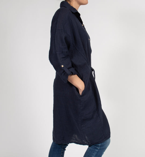 Blue Shirt-Dress Jacket in Italian Linen