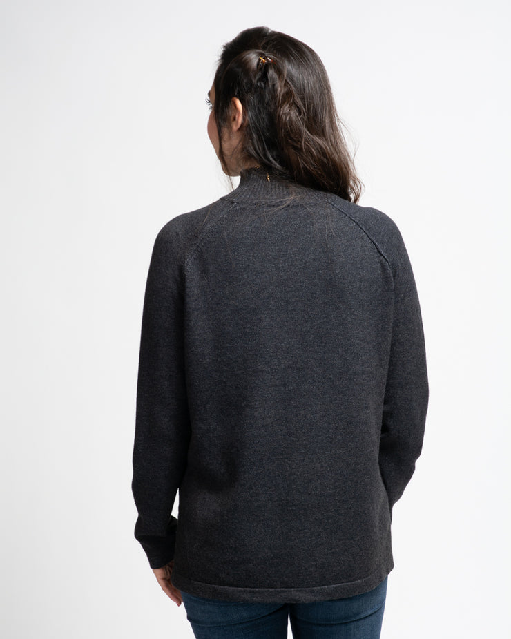 Raglan Sleeve Mock Neck Sweater - Dark Grey