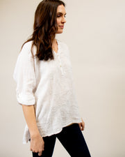 Italian Linen Embroidered Blouse