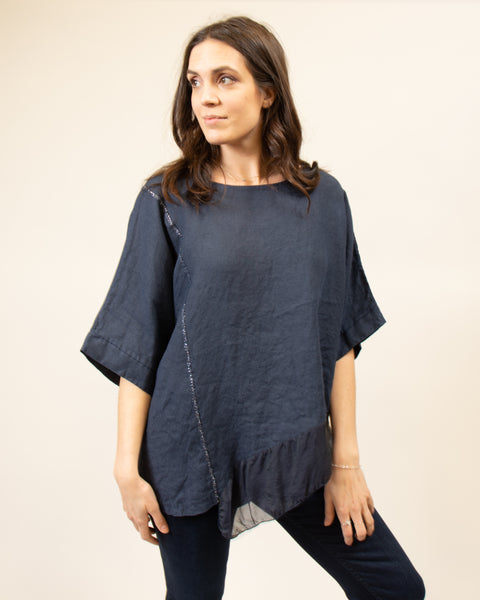Italian Linen/Silk Top in Navy