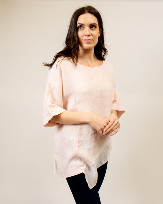 Italian Linen/Silk Top in Pink