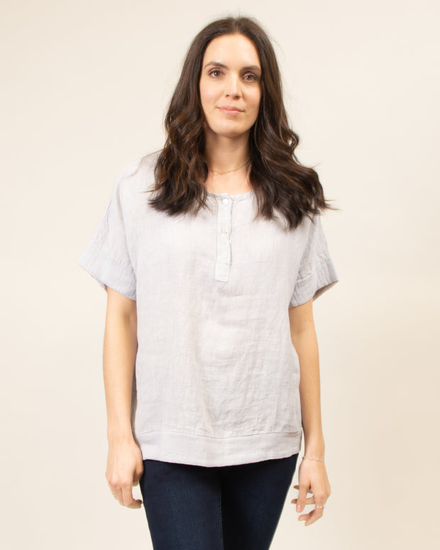 Italian Linen Henley Top in Lilac