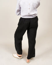 Wide Leg Italian Linen Pants in Black