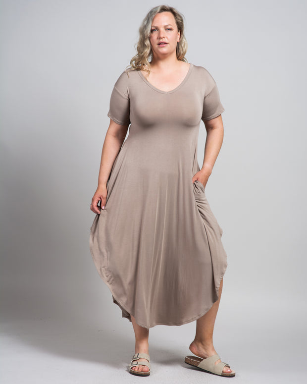 Modal Essential T-Shirt Dress in Taupe