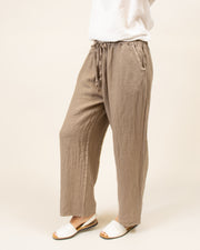 Wide Leg Linen Pants in Taupe