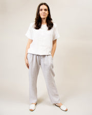 Striped Linen Pants in Lilac/White