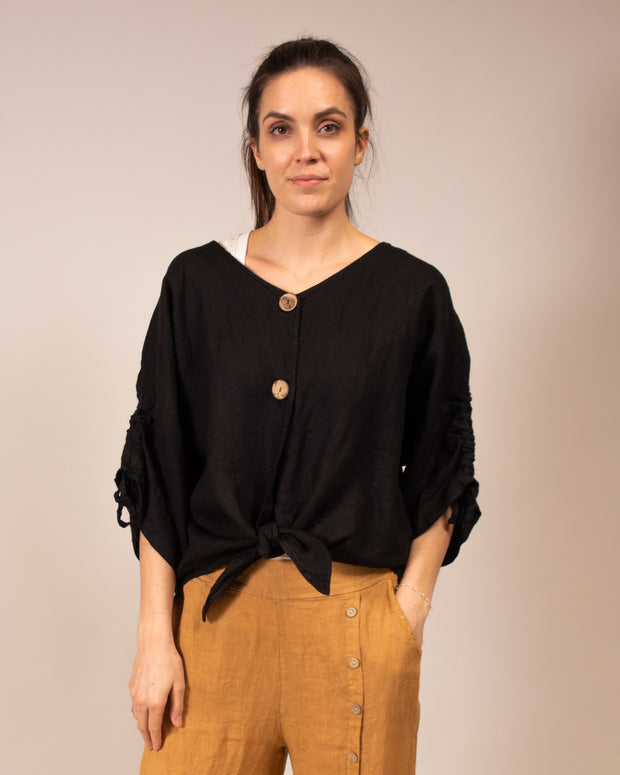 Italian Linen Tie Front Blouse in Black