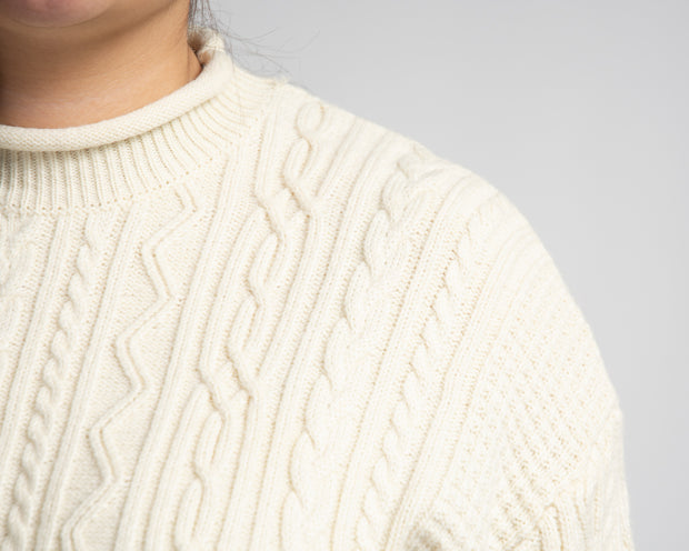 Embellished Cable Knit Sweater - Cream