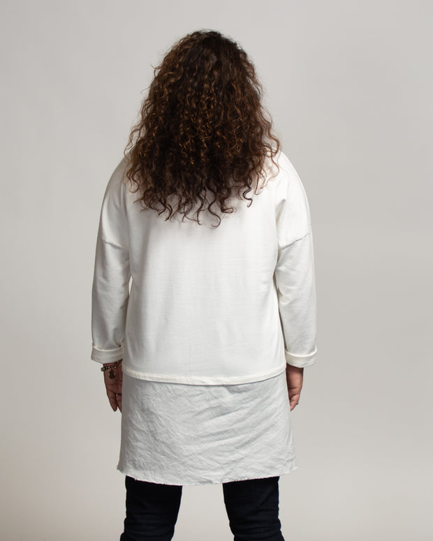 Faux Layer Tunic with Italian Linen - White