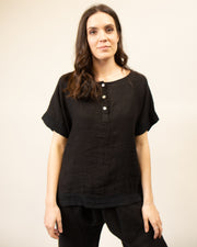 Italian Linen Henley Top in Black